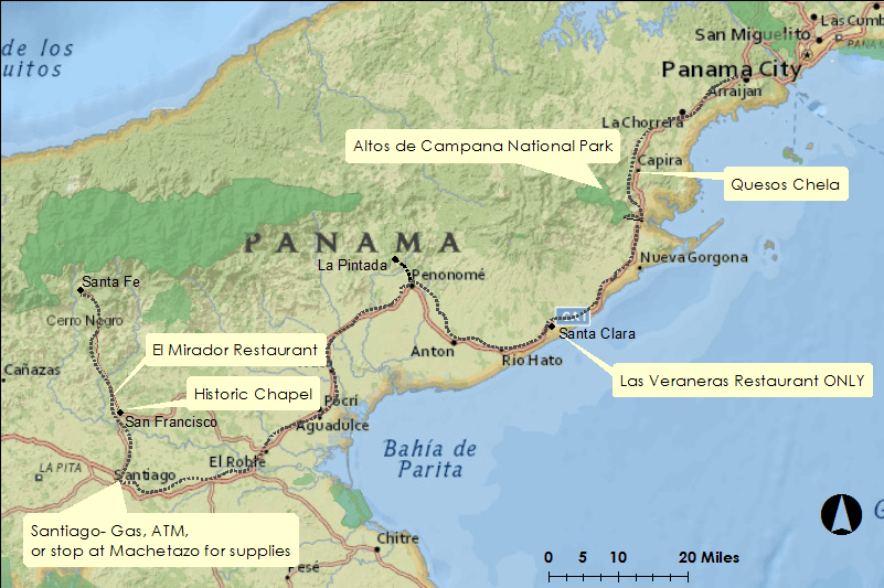 Showing locations to stop for a bite to eat or rest from Panama City to Santiago